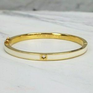 Kate Spade Gold White Enamel Bangle Cuff Bracelet